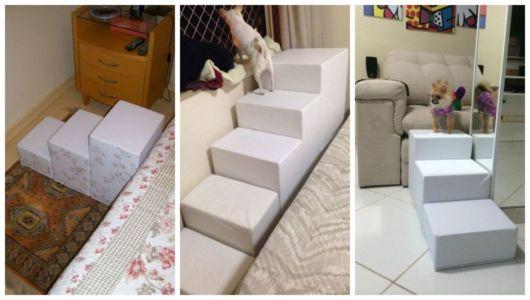 Montagem com três exemplos de escada para cachorro.