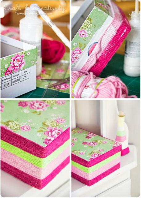 A decoupage é uma forma de decorar caixas de papelão
