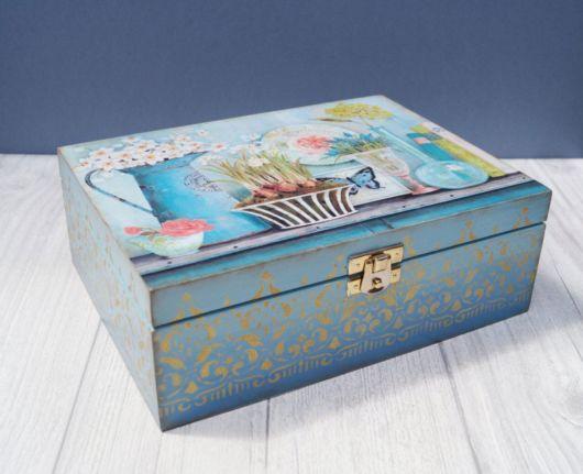 Modelo de caixa de chá em MDF com pintura
