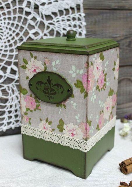 Sugestão de caixa decorativa para guardar cotonetes, bem como algodões