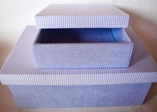 Caixas azuis decoradas com tecido
