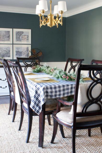 Ideia de sala de jantar verde escura