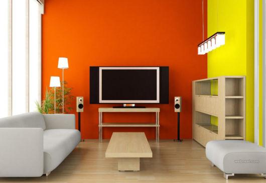 Olha ideia de cores vivas para sua sala de TV