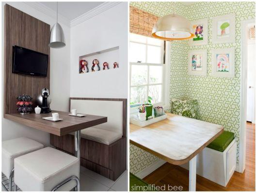 Duas opções de cores para sala pequena de jantar