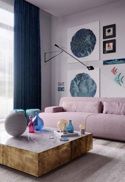 Veja como a cortina combina com detalhes espalhados pela sala