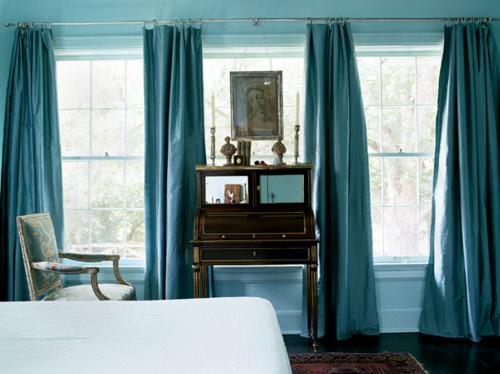 cortina pesada azul tiffany e turquesa