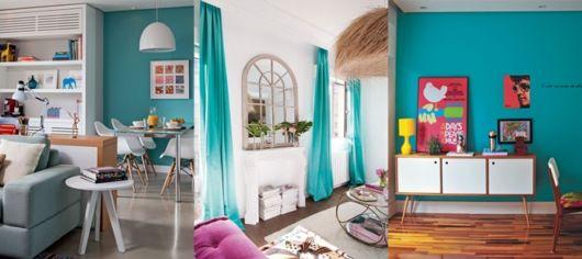 Confira a elegância da cortina na cor azul tiffany