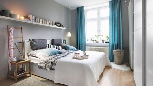 cortina azul tiffany combina com o cinza claro