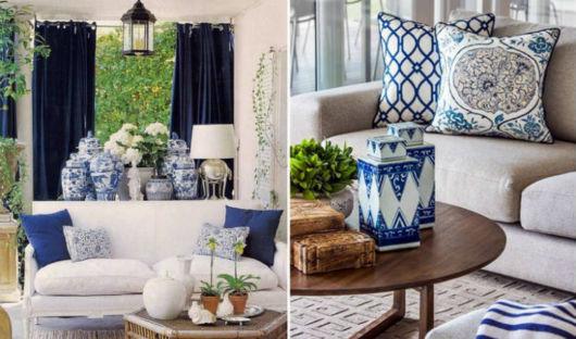 Dica de como você pode decorar a sala com a cortina no tom azul