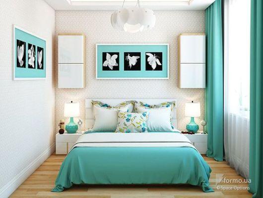 A decoração quarto pode ser trabalhada a partir do azul turquesa, bem como tiffany