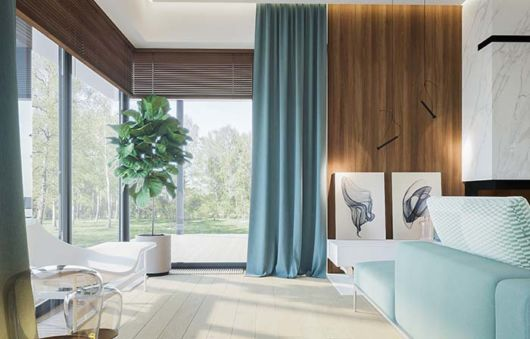 Ideia de cortina na cor azul tiffany para sala grande