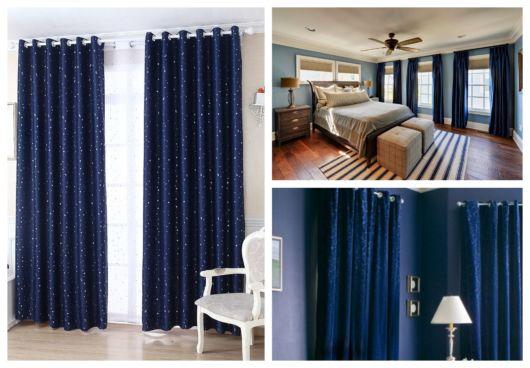 Ambientes com cortina azul marinho