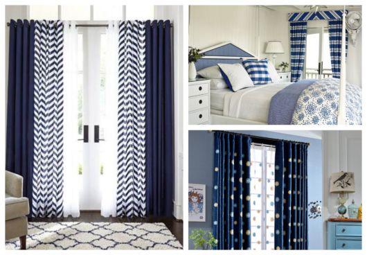 Quartos com cortinas azuis estampadas