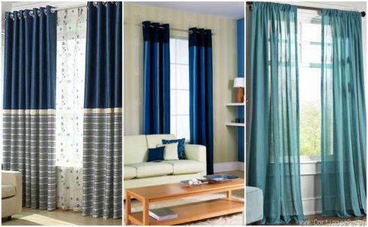 Salas com cortina azul
