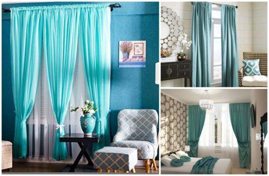Ambientes com cortina azul turquesa