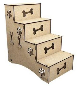 Escada para cachorro de madeira.