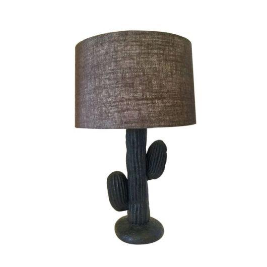 Luminária de cacto com cúpula marrom