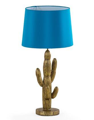 Luminária de cacto com cúpula azul