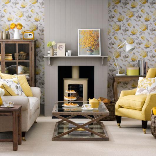 sala amarela e cinza