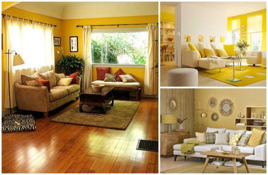 Há diferentes tons de amarelo para utilizar na sala