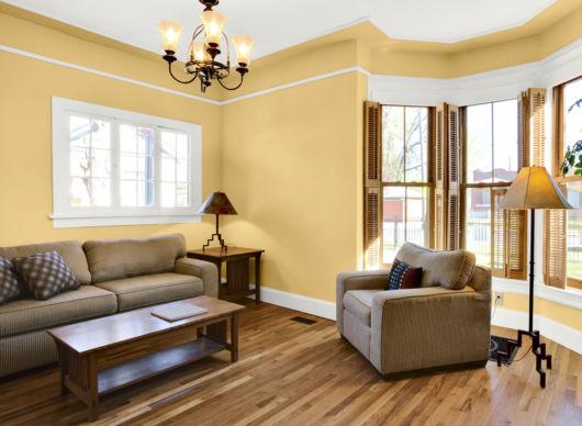Sala amarela com detalhes em marrom