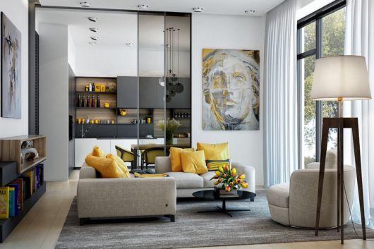 Você pode deixar a sala super moderna com ícones amarelos e cinzas