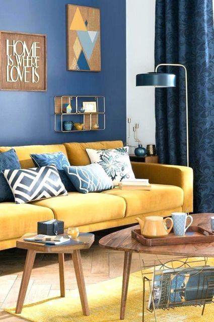 Inspire-se com mais um modelo de sala com azul e amarelo