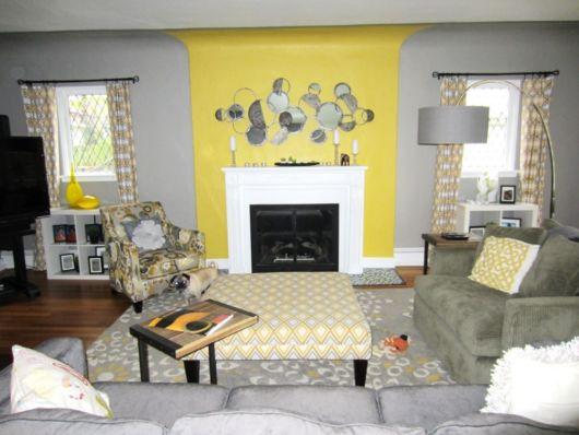 Quer uma sala simples? Veja então uma dica para unir o amarelo e cinza