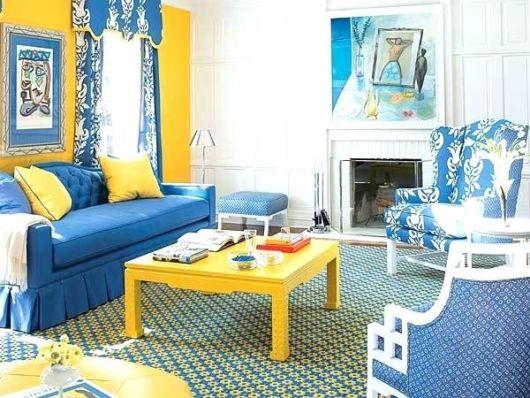 Dica para você decorar a sala com azul e amarelo