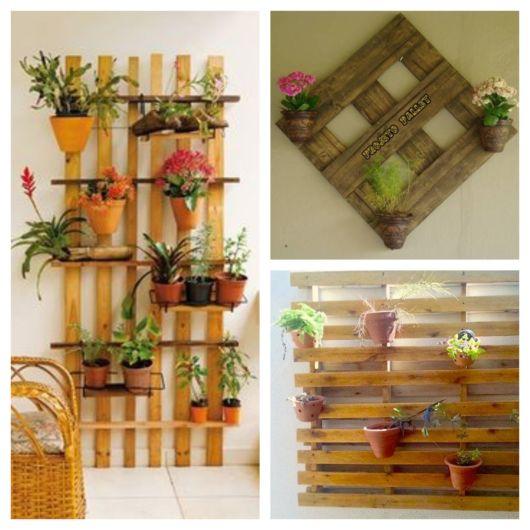 Você pode até customizar seu suporte para plantas com materiais acessíveis, como os paletes