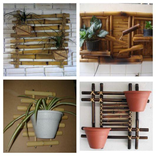 As formas e trançados de bambu chamam atenção, do mesmo modo que materiais como madeira, sisal, entre outros