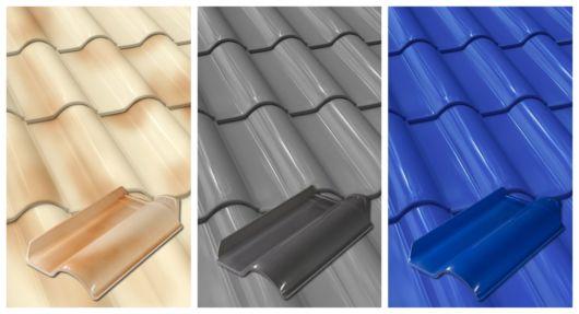 As telhas esmaltadas contêm tratamento com esmalte