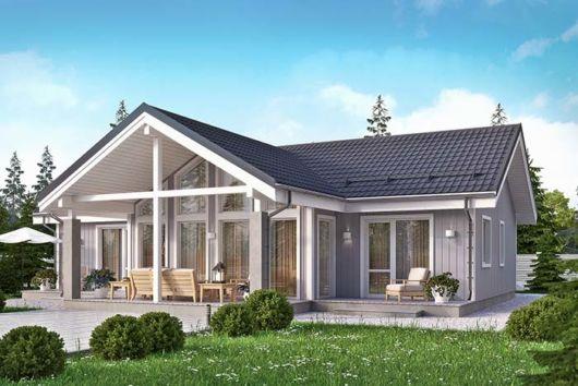 Visão de uma casa com telhas esmaltadas