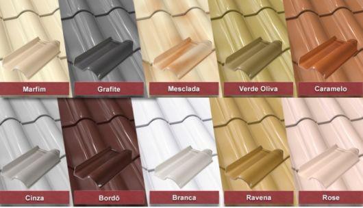 A variedade de cores das telhas esmaltadas