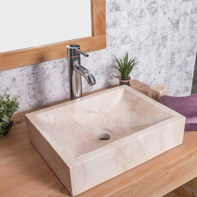 Pia de mármore de sobrepor para banheiro pequeno