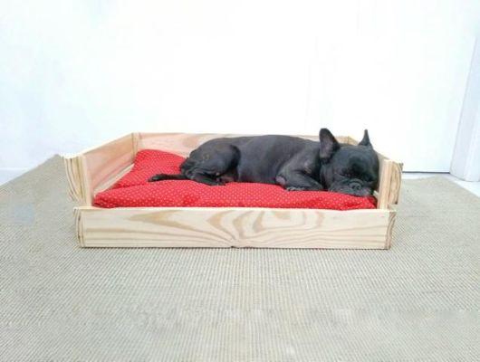 Lixe a madeira e crie uma casinha linda com um estofado para o cão deitar