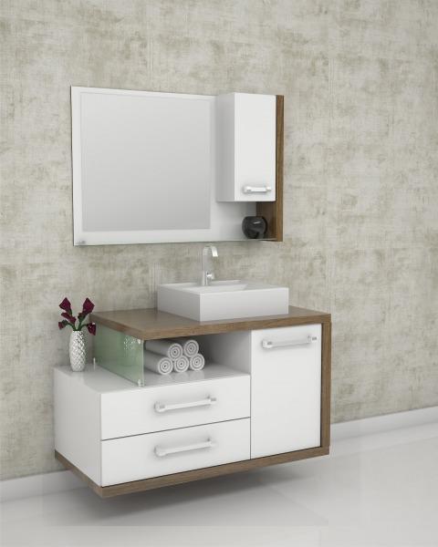 A cuba quadrada se adapta perfeitamente ao armário compacto, assim como em outras opções convencionais