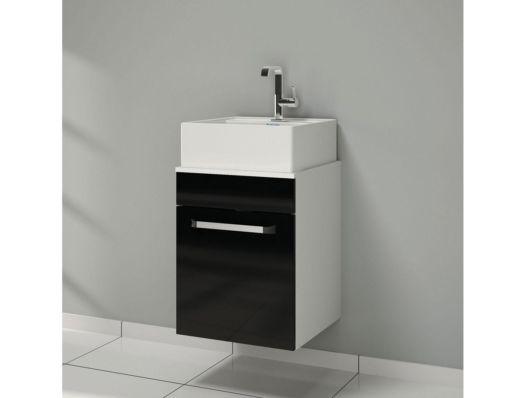 Simplicidade, bom gosto e coerência nessa cuba para banheiro pequeno com armário