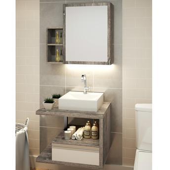 O armário embaixo é essencial para ajudar a organizar o banheiro