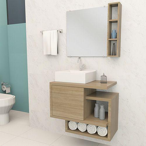 Que tal essa ideia de cuba branca quadrada em meio a um armário marrom de madeira?