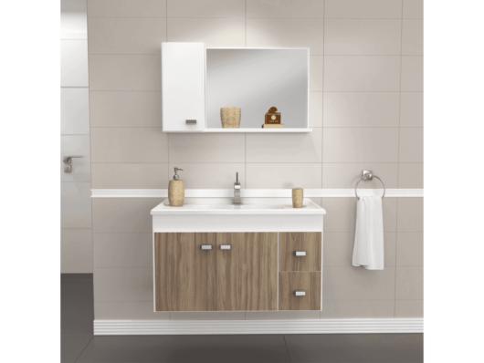 A cuba pode ser instalada diretamente no armário, que ajuda a organizar o banheiro