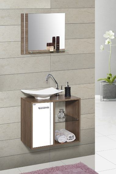 O formato arrojado do aparato destaca essa cuba para banheiro pequeno