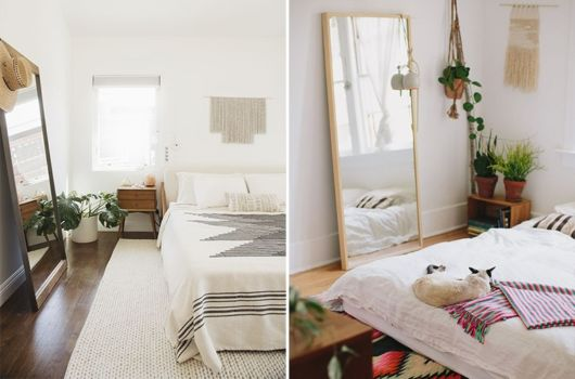 Diferentes modelos de espelho de chão para um quarto minimalista
