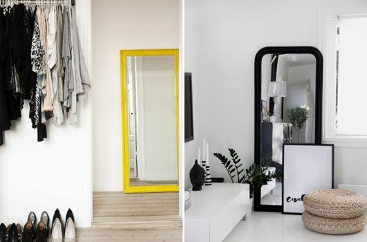 Espelho de chão com moldura amarela e outra versão com moldura preta