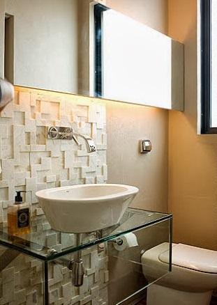 lavabo com bancada de vidro