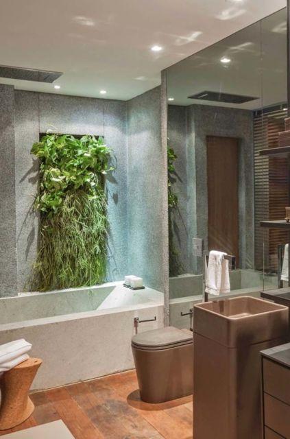 Sem dúvidas, seu banheiro ficará mais lindo com esse enorme quadro vivo