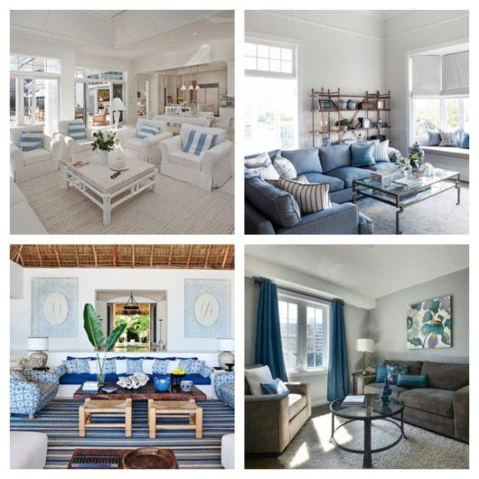 De acordo com especialistas, a junção de azul com cores neutras rende uma decoração harmônica e coerente