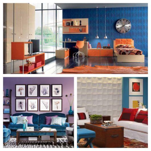 Da mesma forma que as ideias anteriores, você pode complementar o azul com laranja, vermelho e lilás