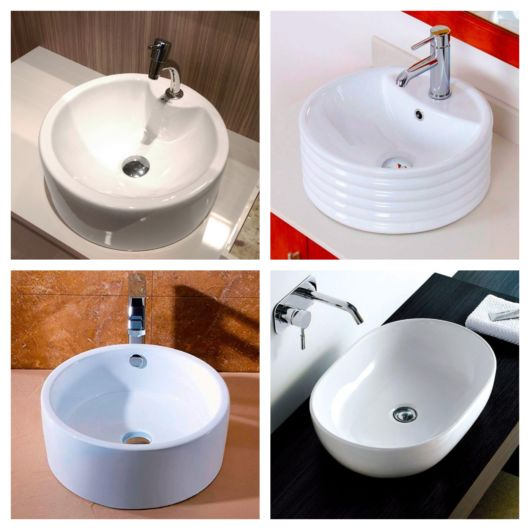 Cubas redondas brancas para dar um plus na decoração do seu banheiro