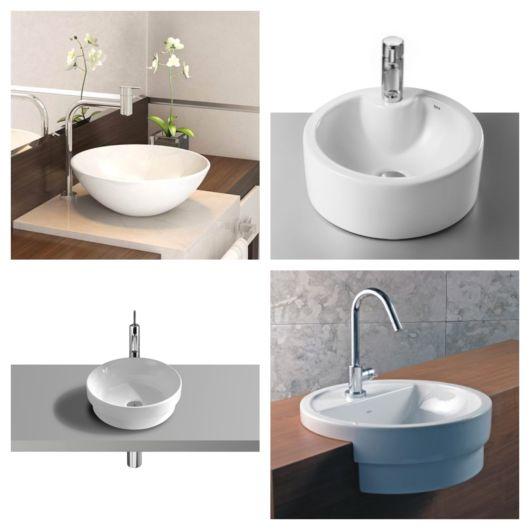 Modelos pequenos de cuba redonda para lavabos e ambientes compactos